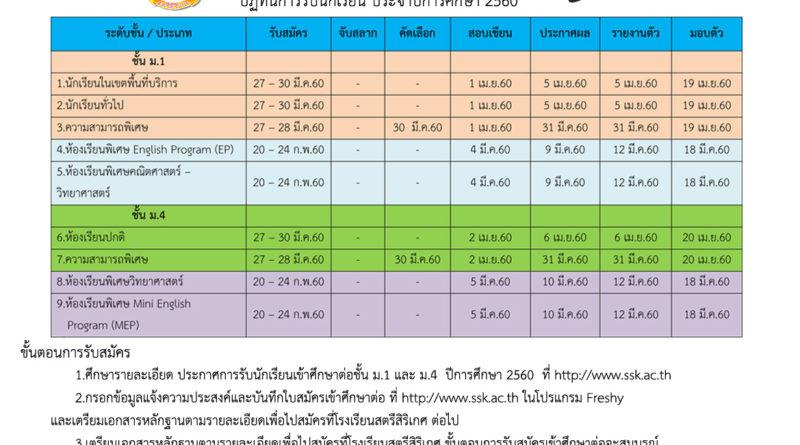 ปฏิทินรับสมัครนักเรียน 2560